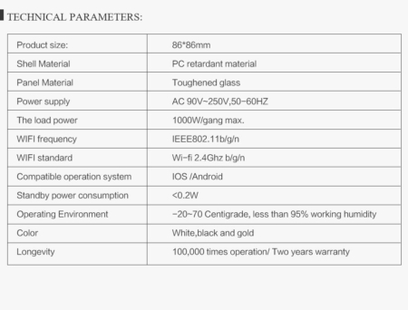مشخصات فنی کلید لمسی wifi